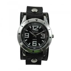 Nemesis Men's Black Sporty Racing Leather Strap Watch
