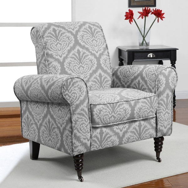 Superieur Grey Ikat Rolled Arms Arm Chair Chair