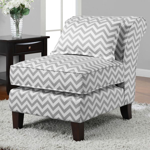 Grey/ White Chevron Print Slipper Chair