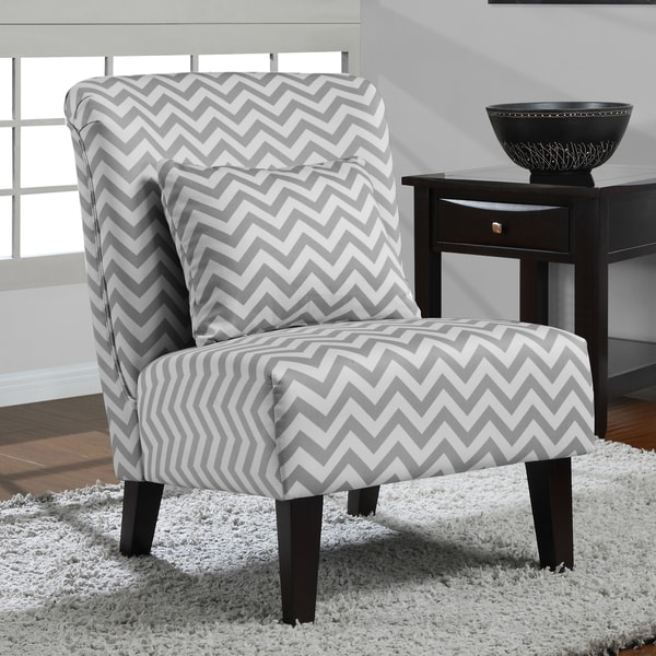 Anna Grey White Chevron Accent Chair Free Shipping
