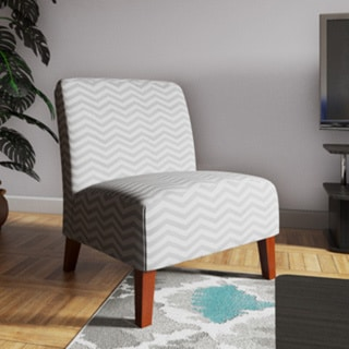 Shop Anna Grey White Chevron Accent Chair Free Shipping