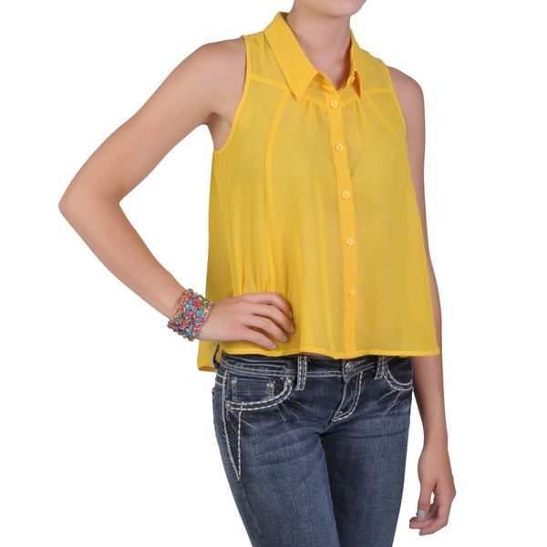 T by Hailey Jeans Co. Juniors Lightweight Button-up Sleeveless Blouse