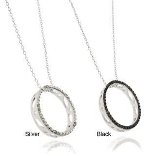 Finesque Silverplated Diamond Accent Black or White Diamond Circle Pendant