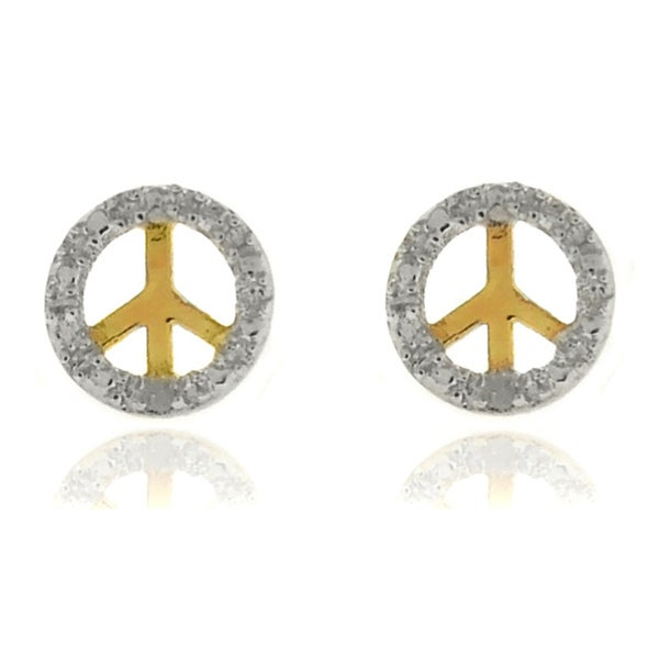 Finesque 18k Gold Overlay Diamond Accent Peace Symbol Earrings