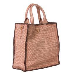 Prada Woven Rose Leather Madras Tote Bag