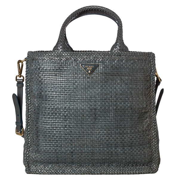 Prada Woven Blue Leather Madras Tote Bag