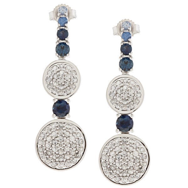 Beverly Hills Charm 14k Gold Blue Sapphire and 1ct TDW Round Diamond Drop Earrings
