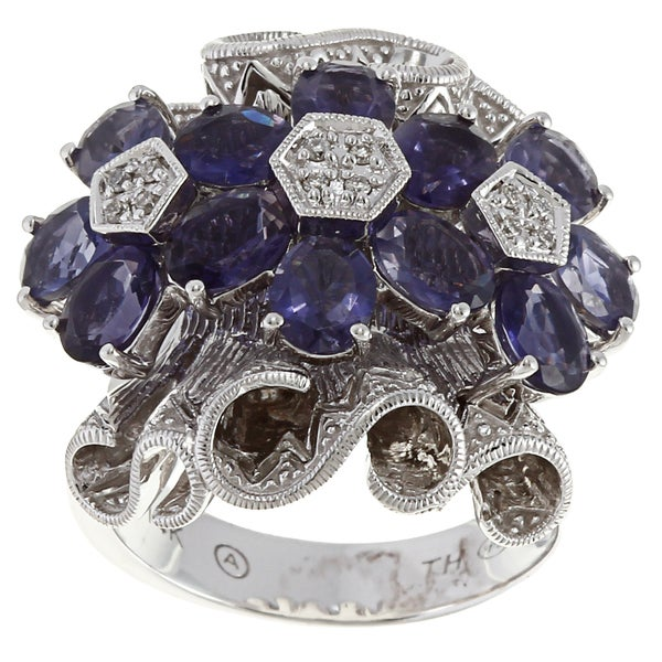 14k Gold 3 1/3ct TGW Iolite and Diamond Accent Ring
