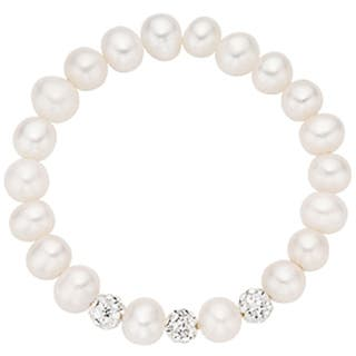 Pearlyta Children's Babies Freshwater Pearl and Crystal Stretch Bracelet (4-5mm)|https://ak1.ostkcdn.com/images/products/7009277/P14516849.jpg?impolicy=medium