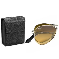 Ray-Ban Unisex 'RB3479 Foldable Aviator 004/M2' Gunmetal Metal Polarized Sunglasses