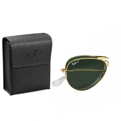 Ray-Ban Unisex 'RB3479 Foldable Aviator 001/58' Gold Metal Polarized Sunglasses - Thumbnail 2