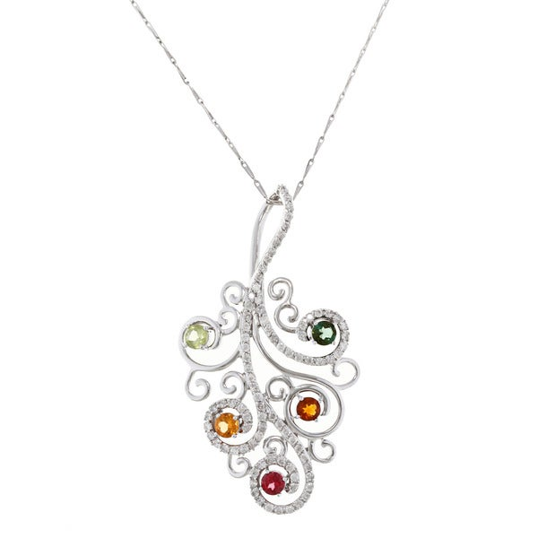 Beverly Hills Charm 14k Gold Multi-gemstone and 3/4ct TDW Diamond Necklace