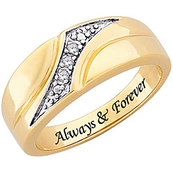 14k Gold Plated Diamond 'Always & Forever' Engraved Ring