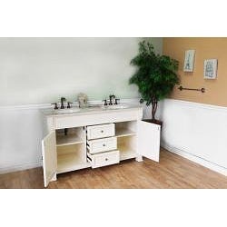 Shop Bellaterra Home Cream White 60 Inch Double Vanity Free Shipping Today Overstock 7009312