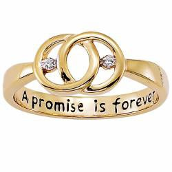 Sterling Silver 'A Promise is Forever' Engraved Diamond Promise Ring - Thumbnail 1