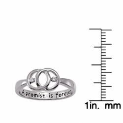 Sterling Silver 'A Promise is Forever' Engraved Diamond Promise Ring - Thumbnail 2