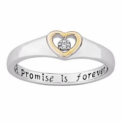 Sterling Silver 'A Promise is Forever' Diamond Heart Promise Ring