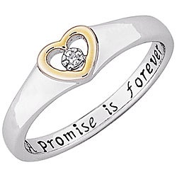 Sterling Silver 'A Promise is Forever' Diamond Heart Promise Ring - Thumbnail 1