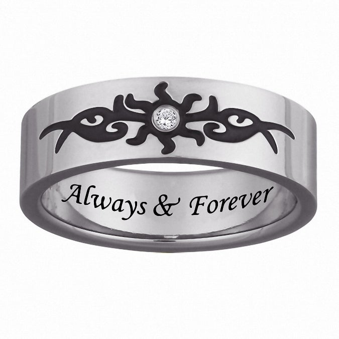 Men's Titanium Engraved 'Always & Forever' Diamond Tribal Design Ring - Thumbnail 0