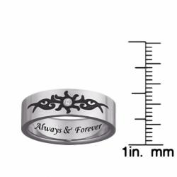 Men's Titanium Engraved 'Always & Forever' Diamond Tribal Design Ring - Thumbnail 2