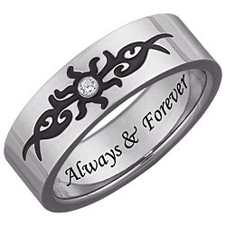 Men's Titanium Engraved 'Always & Forever' Diamond Tribal Design Ring - Thumbnail 1