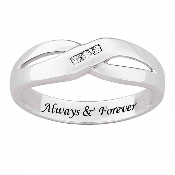Shop Sterling Silver Engraved Always Forever Diamond Ring Free
