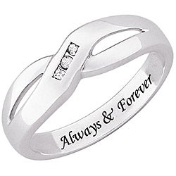 Sterling Silver Engraved 'Always & Forever' Diamond Ring - Thumbnail 1