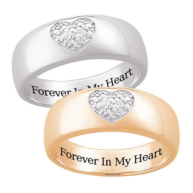 Sterling Silver or 14k Gold Over Silver Engraved 'Forever...