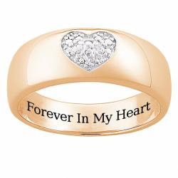 Sterling Silver or 14k Gold Over Silver Engraved 'Forever in My Heart' Diamond Ring