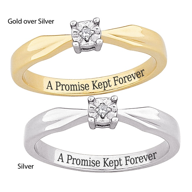 Sterling Silver 'A Promise Kept Forever' Engraved Diamond Ring