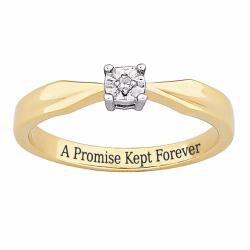 Sterling Silver 'A Promise Kept Forever' Engraved Diamond Ring - Thumbnail 1