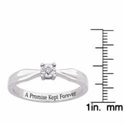 Sterling Silver 'A Promise Kept Forever' Engraved Diamond Ring - Thumbnail 2