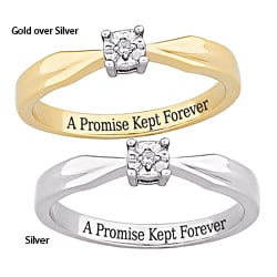 Sterling Silver 'A Promise Kept Forever' Engraved Diamond Ring