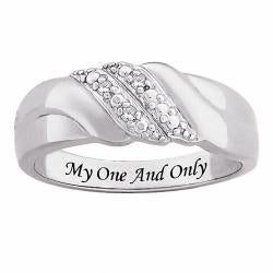 Sterling Silver Diamond Accent Engraved 'My One and Only' Swirl Ring - Thumbnail 1