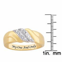 Sterling Silver Diamond Accent Engraved 'My One and Only' Swirl Ring - Thumbnail 2