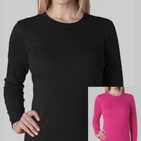Women's Soft Cotton 2 Pack Long Sleeve Crew Neck T-shirt