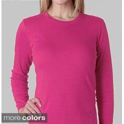 Women's Soft Cotton 2 Pack Long Sleeve Crew Neck T-shirt