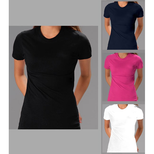 Womens Soft Cotton 2 Pack Crew Neck T-shirt by
