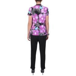 Tressa Designs Women's Contemporary Plus Gray/Purple Short-Sleeve Two-Piece Pant Set