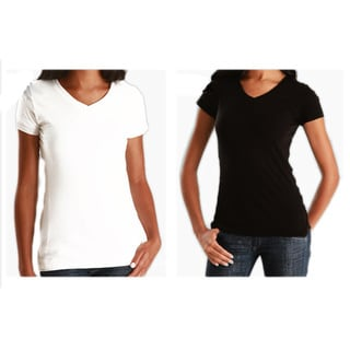 Link to Los Angeles Pop Art Women's 2 Pack Cotton V-Neck T-shirt Similar Items in Shirts