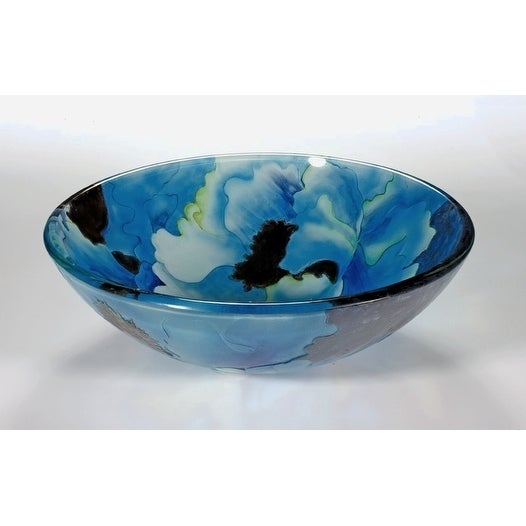 Superbe Shop Blue Tempered Glass Sink Bowl   Free Shipping Today   Overstock    7009428