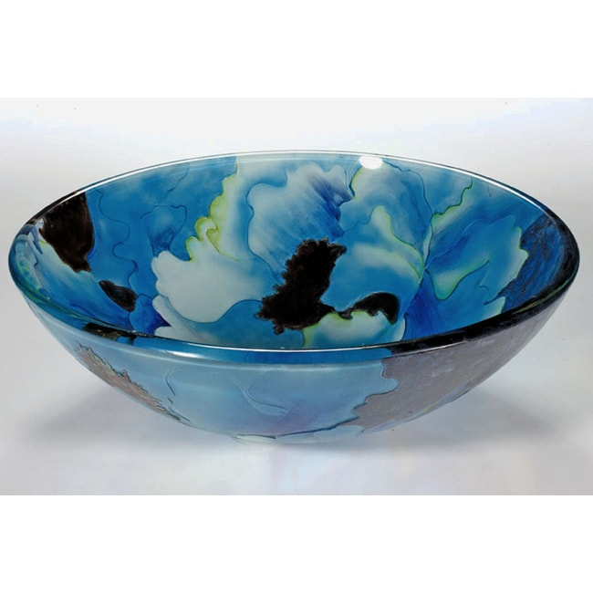 Blue Tempered Glass Sink Bowl - Thumbnail 0