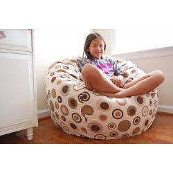 Ahh Products Bubbly Latte 36-inch Wide Cotton Washable Bean Bag Chair - Thumbnail 1