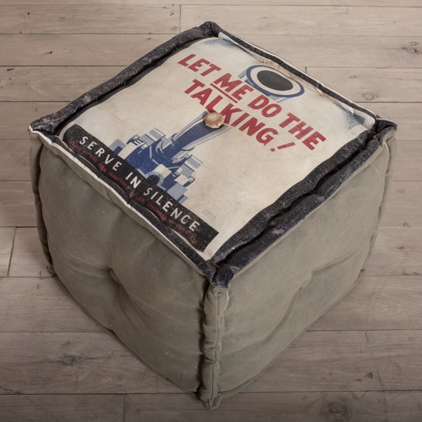 Handmade 'Let Me Do The Talking' Canvas Ottoman Pouf (India)