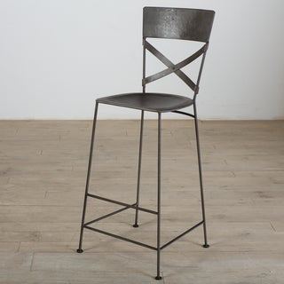 Handmade X-Back Zinc Bar Stool (India)