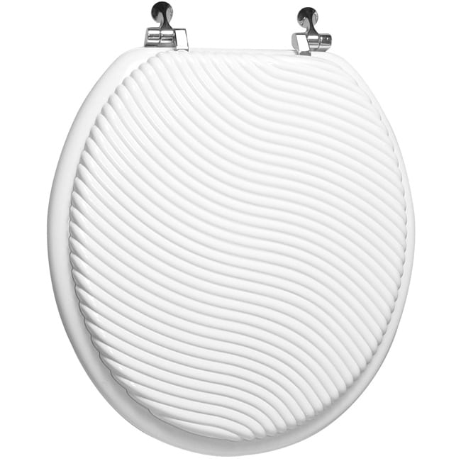 Trimmer Engraved Sand Wave Design Wood Toilet Seat - Thumbnail 0