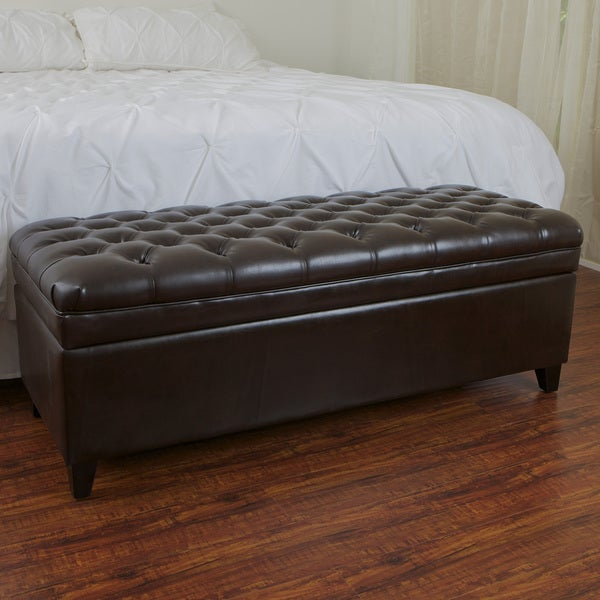 Hastings Dark Brown Bonded Leather Storage Ottoman by Christopher Knight Home
