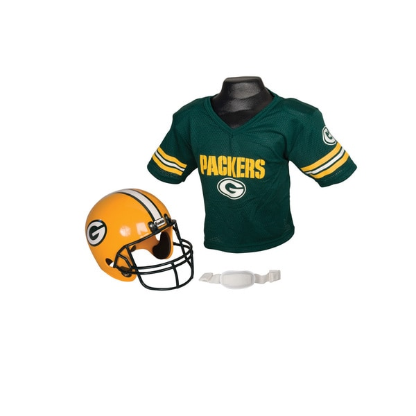 Green Bay Packers NFL Helmet and Jersey Set