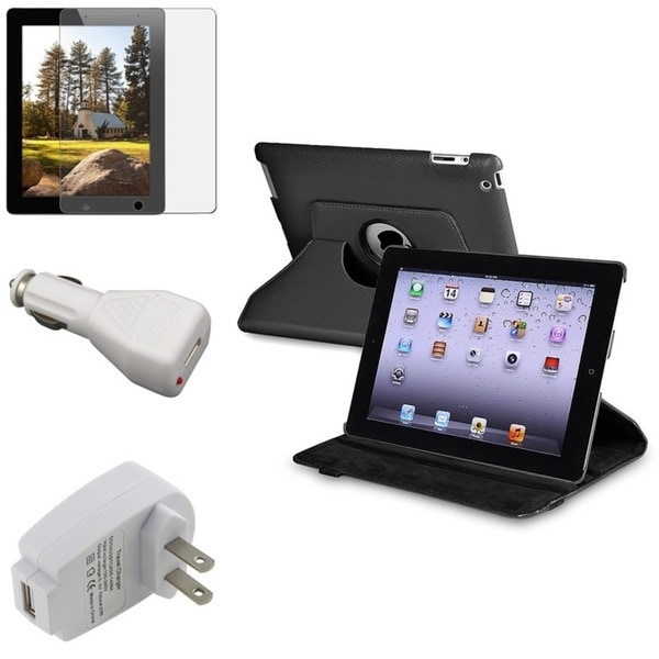 INSTEN Leather Tablet Case Cover/ Anti-glare Screen Protector/ Chargers for Apple iPad 3/ 4