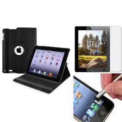 INSTEN Black Tablet Case Cover/ Anti-glare Screen Protector/ Stylus for Apple iPad 3/ 4